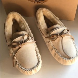 🥰New Ugg Dakota Ivory cream Loafer Moccasin sz 5